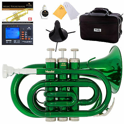 Mendini Green Lacquer Mini / Pocket Trumpet +Tuner+Stand+Case