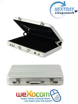 Aluminum Portable Lockbox Suitcase  Box Styling Business Card Holder Cards