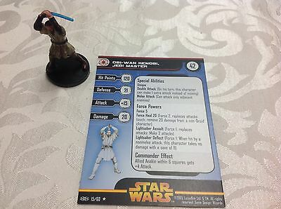 Star Wars Miniature with stat card obi wan kenobi Jedi master 15/60