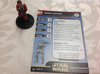 Star Wars Miniature with stat card wedge Antilles 51/60