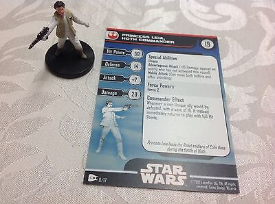 Star Wars Miniature with stat card princess Leia Hoth Commander 8/17