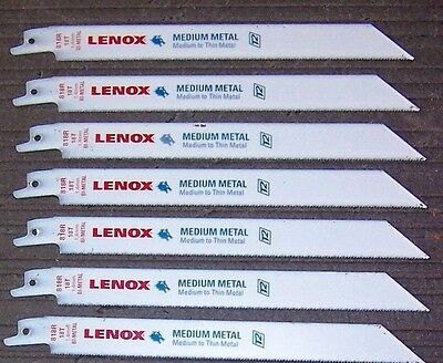 """7 ea. Lenox 818R 8"""" x 18-TPI Reciprocating Saw Blades From a Bulk Pack"""