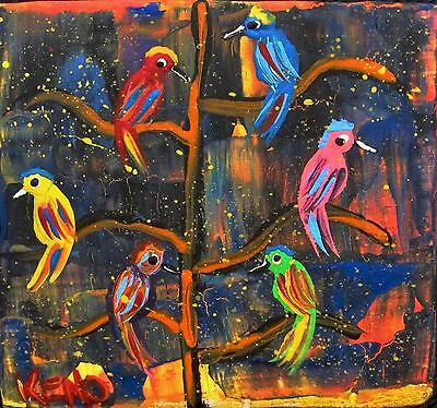 "COLORFUL BIRDs~Mini 3"" x 3"" wood painting KENO FOLK Artist~COASTWALKER~USA"