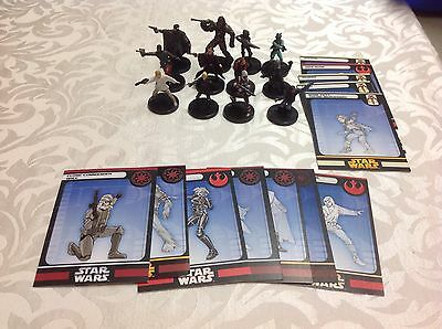 Star Wars Miniatures shooters bundle mixed 12 figures with stat cards