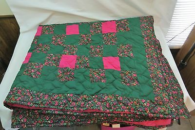 Handcrafted Floral Quilt Throw Fuscia  Trim 52.5 X 61 Pink Lining