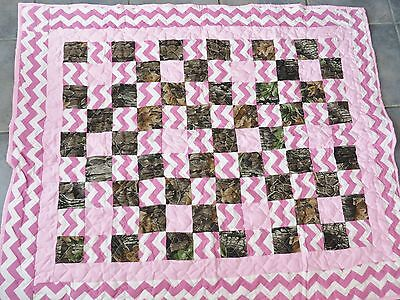 "Folkart  Quilt Camo And Chevron Pink  New 43"" X 52"""