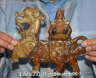 17CM Chinese Old Jade People Ride 12 Zodiac Year Hoese Horses Animal Statue