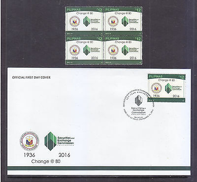 Philippines Stamps 2016 MNH Security and Exchange Commission, B/4, + FDC