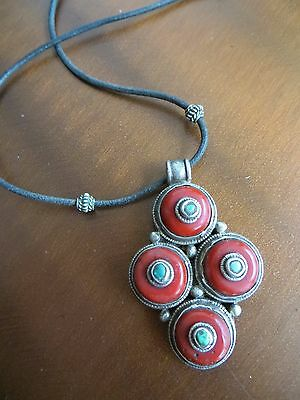 Antique Old Vintage Tribal Tibetan Coral/Turquoise Pendant leather cord necklace