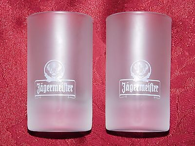 JAGERMEISTER SET OF 2 FROSTED SHOT GLASSES 3 1/2 in.