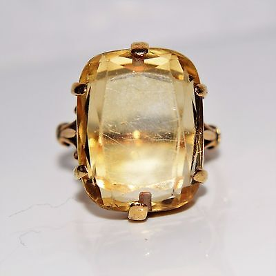 Victorian Georgian Huge Citrine 9ct Rich Yellow Gold Ring Size N ~ US 6 3/4