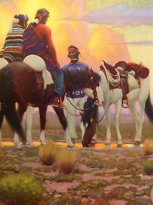 Vintage Santa Fe Calendar Top For 1943 At The Water Hole By Gerard Delano