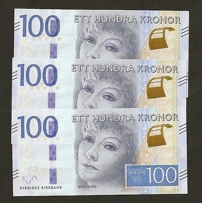 2016 Sweden  100 Kronor New Series  Uncirculated !!!