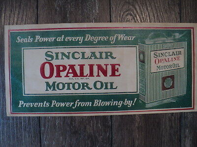 Original Sinclair Opaline Motor Oil Litho Sign - Gas Oil Service Station Display