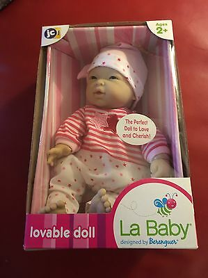 "MINI LA BABY Newborn By Berenguer Asian Girl 11"" Pink By JC Toys NEW! NEW IN BOX"