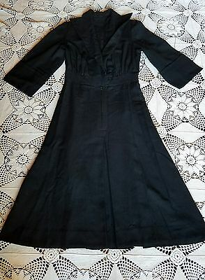 Black wool 40's 50's vintage gothic sinister evil witch classy mistress dress M