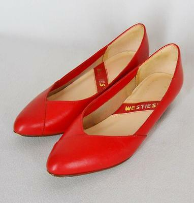 VTG 80s Westies Red Leather Toe Cleavage Flats Classic Pumps Shoes 6 M