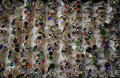 Top Quality Wholesale Mixed lots 20pcs crystal rhinestone gold plated Women ring