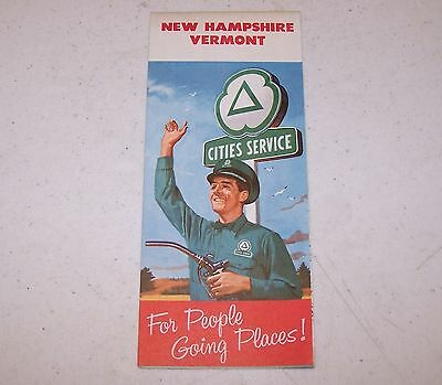 1958 Cities Service New Hampshire, Vermont Map