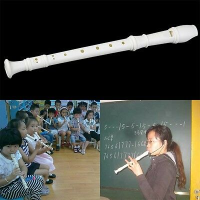 New White Plastics Instrument 8 Holes Musical Soprano Recorder Flute Long NL