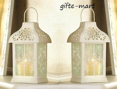 2 white daisy floral cutwork Candle holder Lantern terrace outdoor garden patio