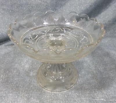 "EAPG Flint Glass Hamilton with Leaf Pattern 8"" Low Compote."