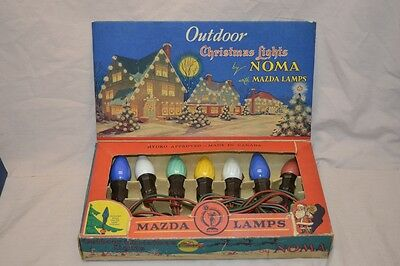 Vintage Noma Xmas Tree Lights String W/ Mazda Bulbs No. 3000