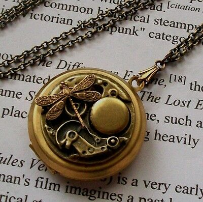 DRAGONFLY Steampunk Pill Box DOUBLE ~ 2 VINTAGE LOCKETS gear Victorian Necklace