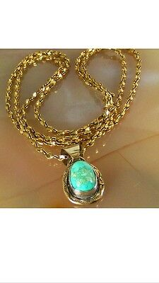 Navajo Sterling Silver & Gold Turquoise NECKLACE PEDANT Signed Michael Perry