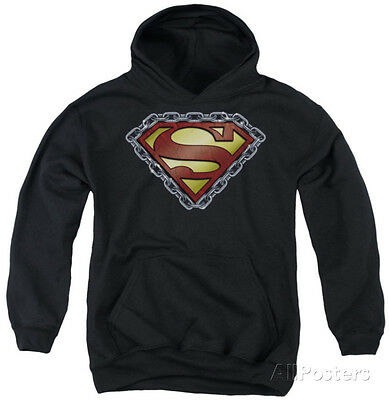 Youth Hoodie: Superman - Chained Shield Apparel Pullover Hoodie - Black