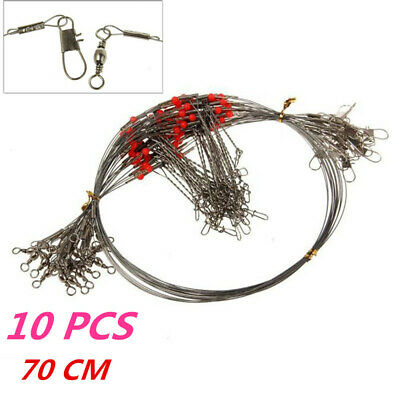 10 Pcs Fishing Wire Leader Trace With Snap & Swivel Fish Tackle Double Drop Arms