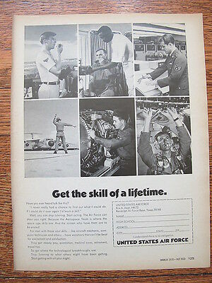 """1970 US Air Force Advertising Print Ad US Military Recruiting Ad 8"""" by 11"""""""