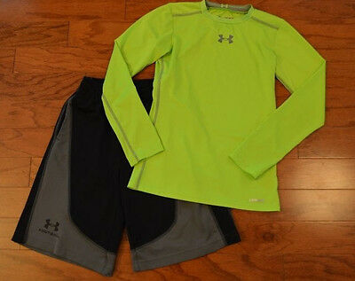 Boy's UNDER ARMOUR 2 Piece Set Black Football Shorts Neon Shirt Size Youth M