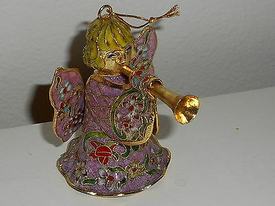 Enamel Cloisonne Angel Playing Trumpet Bell Christmas Ornament