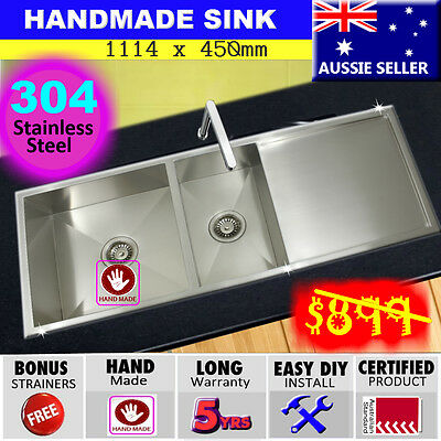 Sink Stainless Steel Double Bowl Square Kitchen Under/ Topmount Drainer 1114x450