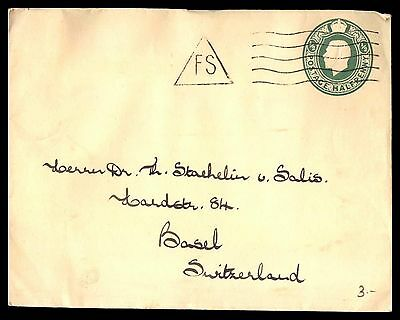 Halfpenny posted classic postal stationery cover UK to Switzerland