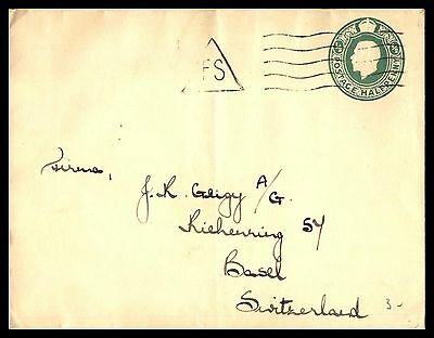Uk 1/2 Rate Green Classic Postal Stationery Cover To Basel Switzerland