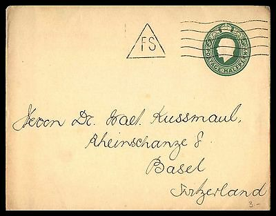 Uk Green Classic 1/2 Rate Postal Stationery Cover To Basel Switzerland