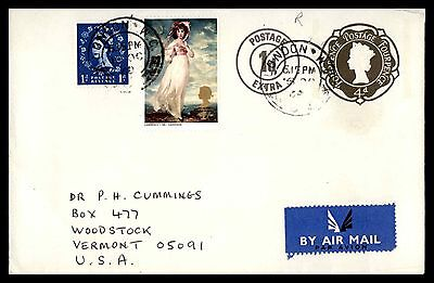 London Uk Uprated Postal Stationery Cover Airmail To Woodstock Vermont