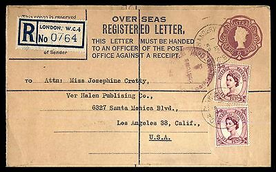 Uprated London Reigstered Letter Cover To Los Angeles California USA