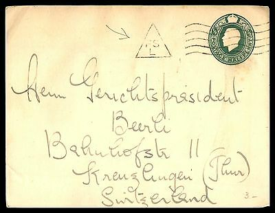 1/2 Penny Classic Green Postal Stationery Cover Uk To Switzerland