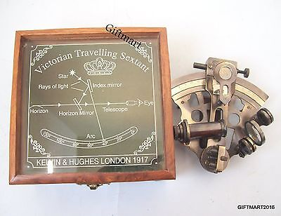 Nautical Maritime Brass Sextant With Wooden Engraving Box, Kelvin & Hughes 1917