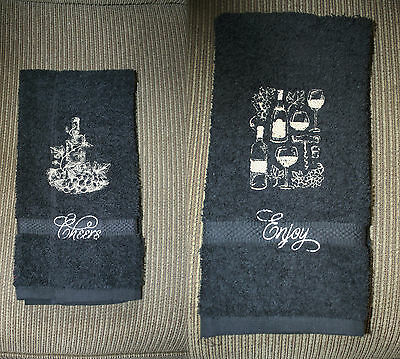 """Wine Bottles""Design 2 New Black Hand towels w/tan/gold tone thread embroidered"