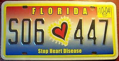 2004 Florida Stop Heart Disease Specialty License Plate Auto Tag Awareness Fl