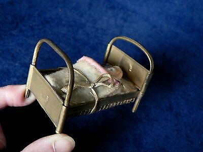 """Antique German Metal Doll Bed & Baby Doll House 3"""" Original Marked"""
