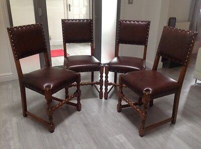 Antique 4 oak & leather dining chairs