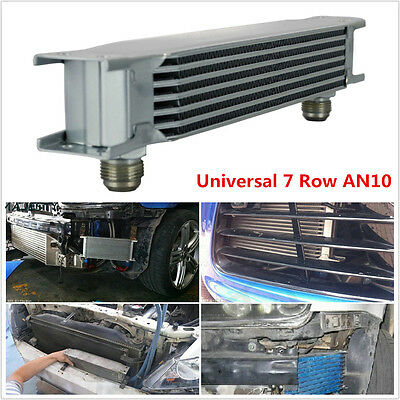 Universal 7 Row AN10 Engine Transmission 248mm Oil Cooler w/ Fittings Kit Silver