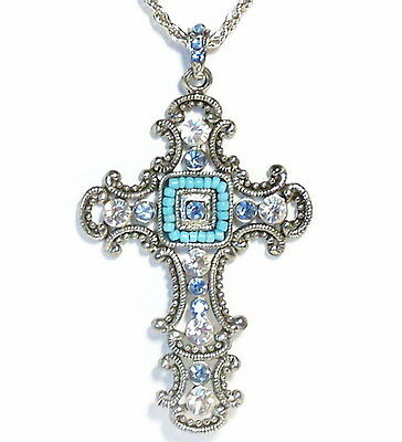 Blue Vintage Style Rhinestones Cross Pendant Necklace Crystal New Silver Gift