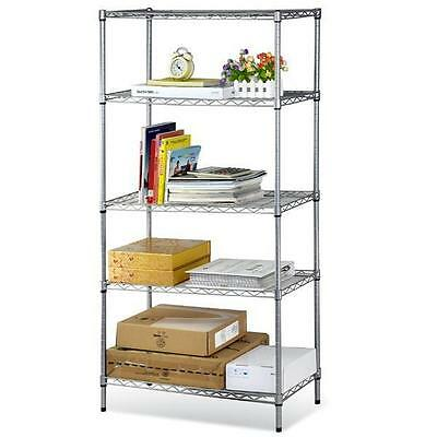5 Tiers Layer Shelving Unit Steel Wire Metal Rack Adjustable Shelf Storage New