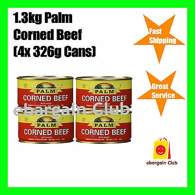 1.3kg Palm Corned Beef 4x326g Cans Premium Quality From New Zealand